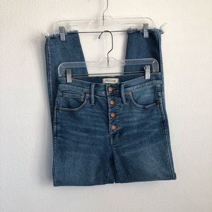 """Madewell 10"""" High Rise Skinny Button Fly Fray Jean"""